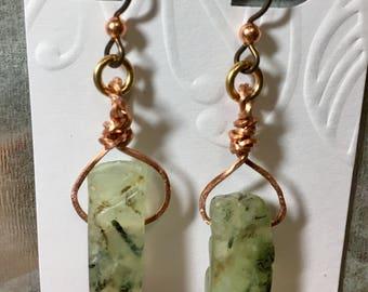 Twisted Prehnite Earrings