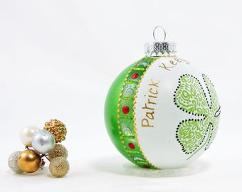 Four-leaf clover ornament - Personalized hand painted glass ornament