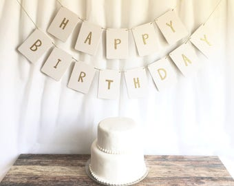 Happy Birthday Banner - thick white durable chipboard - choose different letter colors - fresh blossom font - birthday party