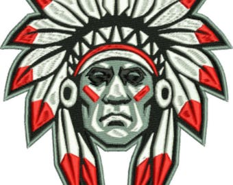 American Indian Chief machine embroidery design