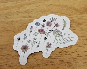 Alpine Wildflowers Weatherproof Sticker - Vinyl Sticker - Laptop Decal - Outdoor Sticker - Vinyl Decal - Environmental Sticker - Art Decal