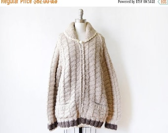 20% OFF SALE chunky wool sweater, vintage thick zip up sweater, oatmeal wool coat, large/xl