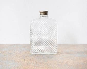 glass flask, vintage 20s hip flask, 1927 universal art deco glass hip flask
