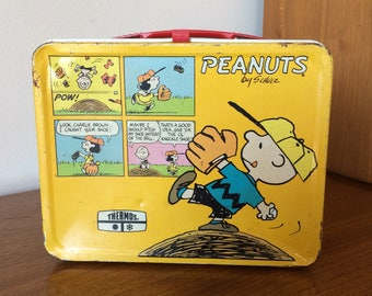 Vintage Peanuts Snoopy & Charlie Brown Metal Lunchbox Retro 1960s 1970s Comics Original Toy Lunch Box