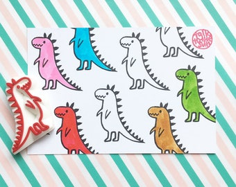 dinosaur rubber stamp. t-rex dino stamp. tyrannosaurus hand carved stamp. diy party gift wraps. gift for kids. handmade by talktothesun