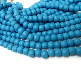 Soft blue wood round beads - Baby blue Wooden Dyed Beads 10x9mm - 30pcs  (PB222E)