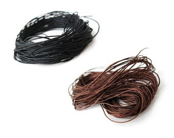 Woven Cotton Cord 0.6mm - 10 meters / 32.8 ft  (CT51) - Black or Brown