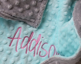 RESERVED FOR Samantha-2 Baby Minky Personalized Soft/Comfy Chenille Security 17x17 Lovie Two Color Customized 17x17 Blankets