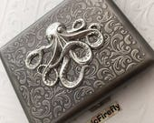 Large Cigarette Case Antiqued Silver Octopus Case Big Size Vintage Inspired Gothic Victorian Steampunk Cigarette Case