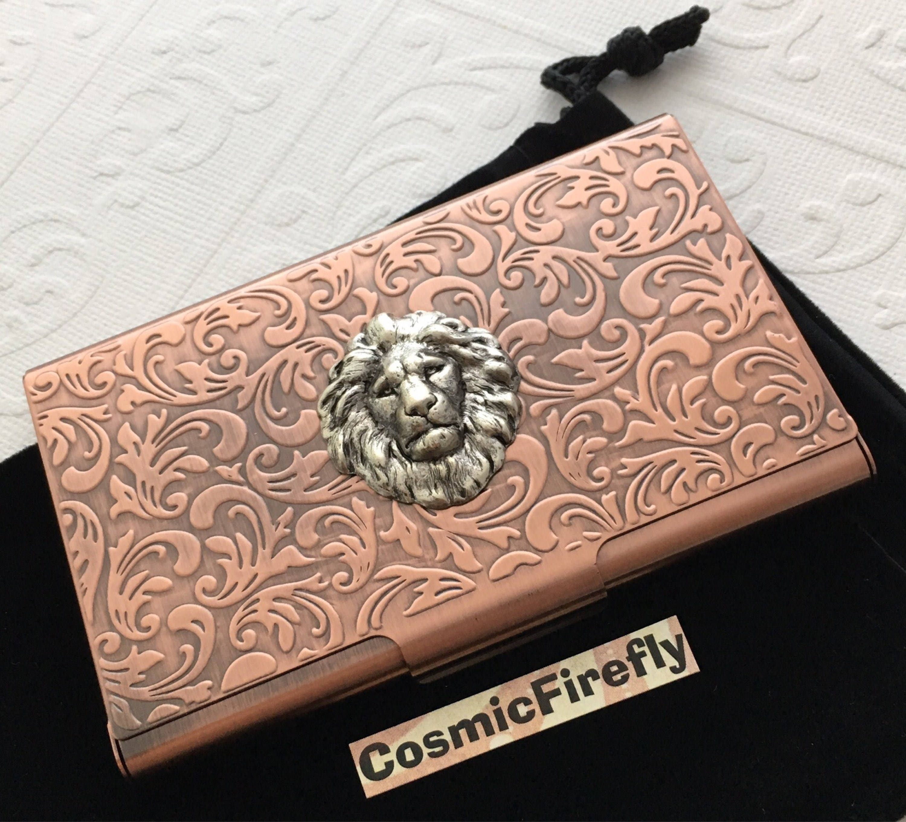 Copper Lion Business Card Case Steampunk Card Case Card Holder ...