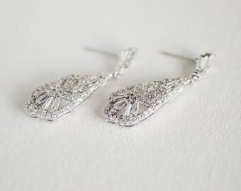 Cubic Zirconia Wedding Earrings, Bridal Earrings, Chandelier Bridal Earrings, Wedding Jewelry
