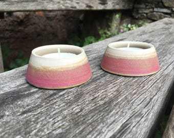 2 x Hand-thrown Ceramic Tea Light Holders
