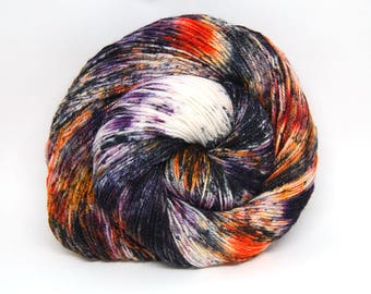 "Glam Rock Sparkle Sock Yarn - ""Punk Rock Pumkin"" -  Handpainted Superwash Merino - 438 Yards"