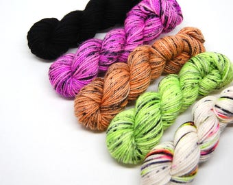 "Halloween ""Pastels"" Acoustic Sock Yarn Mini Skein Yarn Kit - 400 Yards - Superwash Merino Nylon"