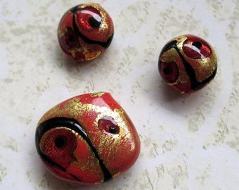 Venetian glass beads pink and gold set of three