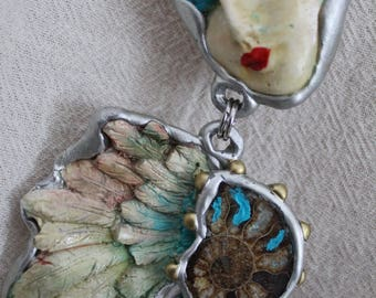 Unique Large Artistic Guardian Angel Wings jewelry Art to Wear pendant necklace ammonite fossil One of a kind healing angel Bold statement