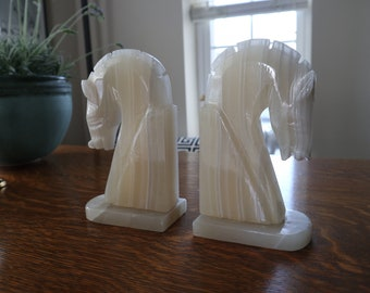 Pair of onyx Trojan horse head bookends