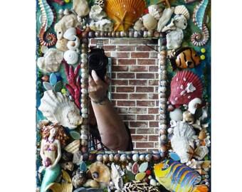 Mixed Media Mosaic Sea Shell Mirror, Mosaic Beach Mirror, Mosaic Mermaid Mirror or Frame Ready to Ship