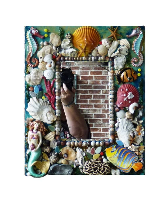 Mixed Media Mosaic Sea Shell Mirror, Mosaic Beach Mirror, Mosaic Mermaid Mirror or Frame Ready to Ship