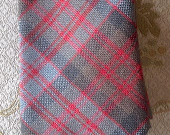 MacDonald tartan necktie, MacDonald plaid, Gray, Olive, Red, Wool necktie, Made in Scotland