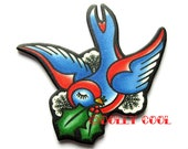 Swallow Brooch Tattoo Style with Holly by Dolly Cool Old School Flash Christmas Holidays Festive Snowflakes