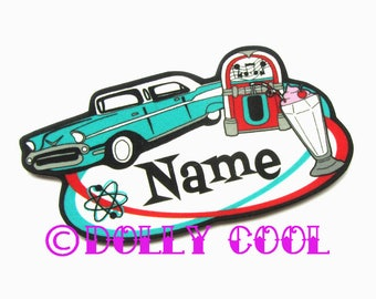 50s Diner Brooch Custom Personalized Name - Your choice of word - Hand Made by Dolly Cool Rockabilly 50s Pin Badge Tattoo