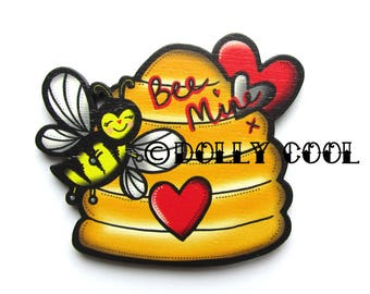 Bee Hive Brooch by Dolly Cool Love Bee Mine Retro Vintage 50s Valentine Style Wooden Tattoo inspired Novelty Pin