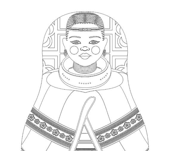 Ndebele South African Doll Traditional Dress Coloring Printable