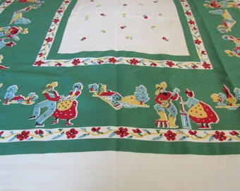 """New Vintage Tablecloth 48"""" square with tag Southwestern design Hand Printed"""