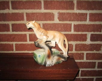 Vintage Mid Century Figural Cougar Pottery Planter by Lane of California