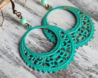 Boho Filigree Brass Earrings Turquoise Earrings Patina Earthy Rustic Woodland Filigree Gypsy Boho Brass Bohemian Earrings Jewelry