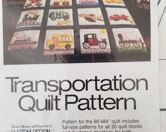 Transportation Quilt Applique Pattern Better Homes and Gardens Cars Trucks Trains Boat Wagon