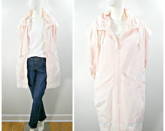 Vintage Pink Jacket, 80s Pale Pink Big Coat with Zipper, Roomy Slouch Jacket with Pockets and Ruched Collar, Pale Pink Windbreaker Size L XL
