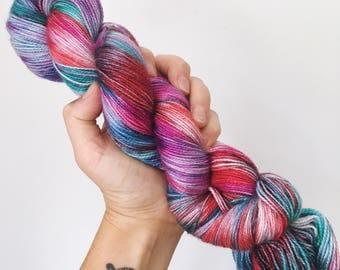 Vintage Christmas - Hand dyed 4ply/sock yarn 100g/400m superwash merino, nylon blend with sparkle
