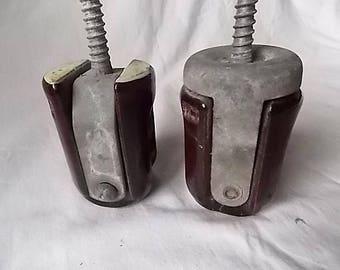 2 Vintage Brown Ceramic Insulators with Bracket & Bolt