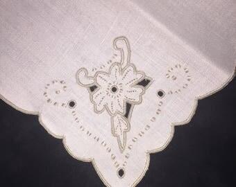 10 Vintage Cotton Cutwork Napkins