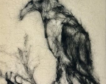 Needle Felted Wool Sketch of Crow