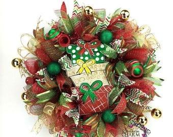 ON SALE Deco Mesh Christmas Wreath, Christmas Present Wreath, Red Green & Gold Christmas Wreath, Christmas Wreath for Front Door, Christmas