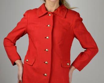 Red Linen Jacket, Single Breasted, 60s Jacket, Vintage Jacket, Preppy Jacket, Vintage Clothing Sale,  Office Jacket, School Jacket,