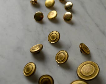 Gold Buttons, Vintage Buttons, 60s Buttons, Textured Buttons, Circular Buttons, Gold Button Lot, Shank Buttons, Fashion Buttons, Flat Head,