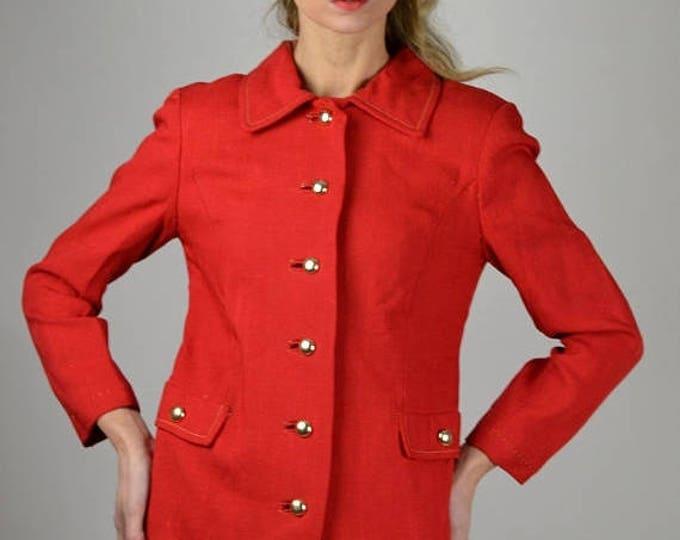 sale Red Linen Jacket, Single Breasted, 60s Jacket, Vintage Jacket, Preppy Jacket, Resort Jacket,  Spring Jacket, Summer Jacket, 1960s Jacke