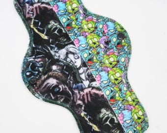"11.5"" Heavy Cloth Pad, Minky Cloth Menstrual Pad, Zombies Minky, Windpro Fleece MotherMoonPads Overnight Pad, Incontinence Pad"