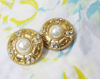 CHANEL Clip On Earrings Pearl Gold Rhinestone Logo Designer Retro Fashion Statement Costume Jewelry