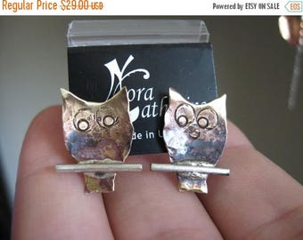 End of Summer SALE Tiny owls on a branch - post earrings in copper or bronze on sterling silver
