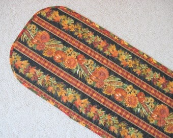 Quilted table runner Fall Harvest pumpkins colored leaves fall flowerds orange black  Quiltsy handmade