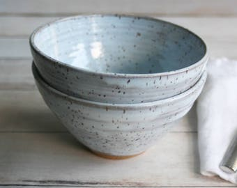 Two Ceramic Serving Bowls in White Speckled Blush Blue Glaze Stoneware Pottery Made in the USA Ready to Ship