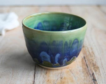 Green and Blue Yunomi Tea Cup Handmade Japanese Cup Stoneware with Dripping Glazes Ceramic Pottery Ready to Ship Made in USA