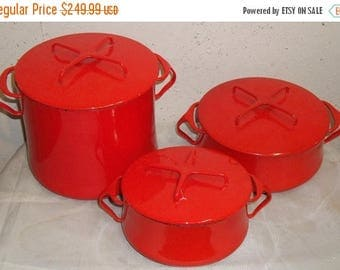 ON SALE Set of 3 Vintage DANSK France Kobenstyle Quistgaard Chili Red Enamel Stock pot Dutch Oven