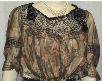ON SALE Vintage Edwardian Victorian Floral Net Dress Skirt Beaded Blouse Steampunk
