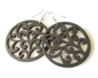 Large Dark Brown Swirl Wooden Earrings | Hippie Boho Style Jewellery | Lazer Cut Ligthweight Earrings | Gift for Her | Stainless Steel